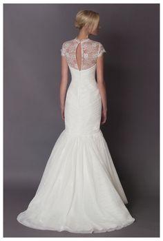 "Alyne ""Collette"" Tulle mermaid with Chantilly lace bolero http://www.christiannebrunelle.com/English/Alyne-wedding-dresses/"