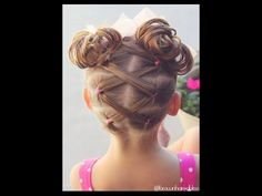 Super cute criss cross pigtails into messy high buns! Toddler Hairstyle - Elastics into High Messy Buns - @brownhairedbliss- YouTube