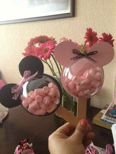 MINNIE MOUSE FAVORS...using clear cups, paper, & popsicle sticks!  http://kitchenfunwithmy3sons.com/2016/03/the-best-mickey-mouse-party-food-ideas-for-kids-fun-finds-friday.html/  http://kitchenfunwithmy3sons.com/2016/03/the-best-mickey-mouse-party-food-ideas-for-kids-fun-finds-friday.html/