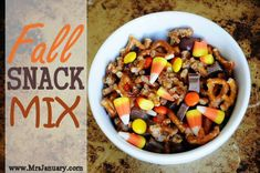Fall Snack Mix Recipe via MrsJanuary.com - This is the most delicious snack mix you will ever try, I promise! It has a great mix of sweet and salty - SO good!