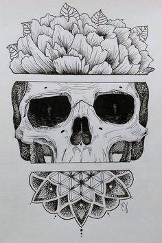 Sugar skull by mathilde jakobsen fun body tattoos эскизы татуировок, эскиз тату Rabe Tattoo, Et Tattoo, Tattoo Drawings, Art Drawings, Kunst Tattoos, Skull Tattoos, Body Art Tattoos, Sleeve Tattoos, Tattoo Sugar Skulls