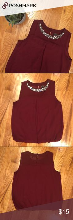 "✨NEW✨ Sleeveless Jewel Embellished Blouse Sleeveless embellished jewel neck blouse |  Gently used, in good condition - no marks or stains |  (Just shadows in photos) Elastic banded bottom, blouson fit |  Armpit to armpit ~ just under 19"" (runs small) 