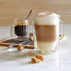 Double-Wall Glass Coffee Cups #williamssonoma
