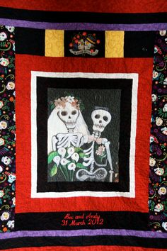 King Size Day of the Dead Wedding Quilt/Anniversary Quilt  Till Death Do Us Part or Not.....Custom Order  Yours Today on Etsy, $425.00