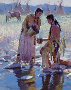 R.S. Riddick - beautiful Native American couple painting