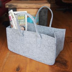Magazine Holder or Log Basket in Mellow Grey Felt