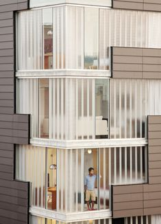 Simple geometric forms make a powerful statement on the exterior of this apartment complex.
