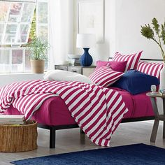 Channel Stripe Percale Bedding - Bright and beachy bedding in crisp cabana stripes!