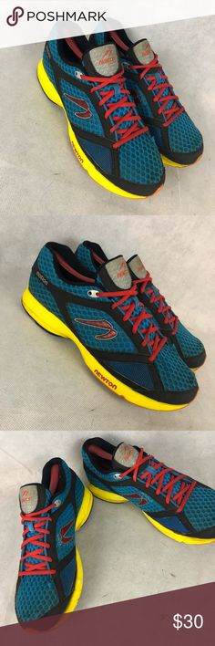 Newton Motion Active Running Shoe Blu/Red Sz 10 Product Description  BRAND: Newton Running  STYLE: Running Shoe  COLOR: Blue/Yellow/Red  SIZE: Men's US 10 EU 42  WIDTH: Medium  CONDITION: Pre-owned, normal wear, Overall good condition  FAST SHIPPING FROM SMOKE FREE PET FREE HOME! THANKS GUYS! Newton Shoes Athletic Shoes