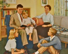 """1961 x Lithograph Poster including border) © Providence Lithograph Co. """"Thank You, God, for Prayertime"""" Beginner Teaching Pictures Part 9 April-May-June, 1961 Artist: Timmons Vintage Children's Books, Vintage Ads, Try Guys, Victorian Paintings, Family Painting, Families Are Forever, Cottage Art, Retro Images, Vintage Drawing"""