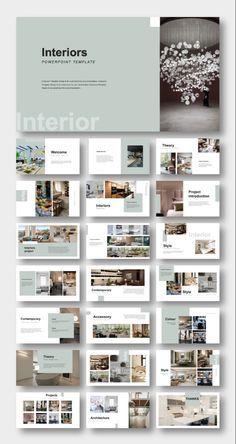 Powerpoint Design Templates, Ppt Design, Page Layout Design, Interior Design Presentation, Presentation Layout, Mise En Page Portfolio, Portfolio Design, Contemporary Interior Design, Architecture Portfolio