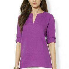 Lauren Ralph Lauren Linen Split Neck Tunic Desert amethyst. Vibrant purple 100% linen roll up sleeves tunic. Brand new. Ralph Lauren Tops Tunics