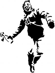 Man Throwing Molotov Cocktail Stencil