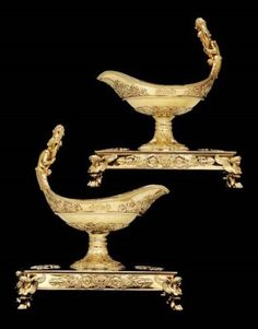 A pair of French Empire silver-gilt sauceboats from the Demidoff service MAKER'S MARK OF JEAN-BAPTISTE-CLAUDE ODIOT, PARIS, CIRCA 1818, AFTER A DESIGN BY ADRIEN-LOUISE-MARIE CAVELIER, THE APPLIED ARMS WITH THE MAKER'S MARK OF C. F. HANCOCK, LONDON, 1863 Price realised GBP 108,250 Estimate GBP 45,000 - GBP 80,000