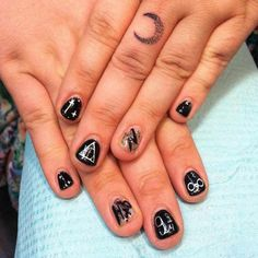 Harrypotter Acrylic Nail Design for Short Nails