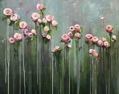 Grote bloemen kunst werk, origineel groot olieverfschilderij, handgemaakte kunst, origineel, Hand verf, Gift, kunst aan de muur, olieverfschilderij schilderen, doek