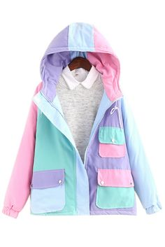 Pastel Color Drawstring Hooded Coat #30-50 #jackets-coats #meta-filter-color-multicolor #meta-filter-size-m #new