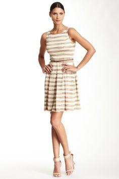 Striped Knit Belted Dress