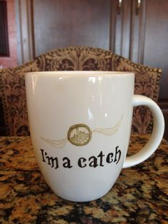 """Harry Potter Quidditch Mugs...for the Snitch, """"I'm a catch."""" Available from Etsy. #harrypotter #quidditch"""