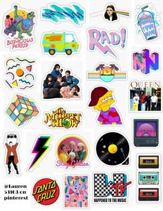 80's sticker pack 80's stickers rad bright the muppets 80s aesthetic mtv queen the breakfast club santa cruz santa cruz neon bright colorful simpsons scooby doo retro vintage sticker pack overlays edits hydroflask stickers laptop stickers phone case stickers trendy cute aesthetic tumblr niche popular teen teenager artsy art hoe basic teen find your aesthetic