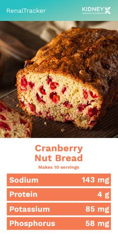 A moist quick bread with a faint hint of orange flavor, and the tang of bits of cranberries. Low Salt Recipes, Real Food Recipes, Snack Recipes, Diet Recipes, Food For Kidney Health, Kidney Foods, Low Potassium Recipes, Low Sodium Recipes, Cranberry Nut Bread