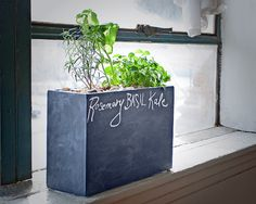 New planter on Kickstarter - self waters, self feeds and grows herbs and more like crazy!  #gardening #modern #homedecor #reclaimed #orchids #howto #howtogarden #garden #hydroponics #planter #planters #chalkboard #greenthumb #diy #sustainable #local #grow #spring #designer #decorate