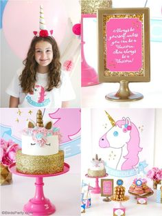 Pink and gold unicorn birthday slumber party! Lots of creative DIY decorations, ideas, party printables, food and fun! Unicorn Themed Birthday Party, Unicorn Party, Birthday Party Themes, Diy Birthday, Birthday Nails, Diy Party Decorations, Birthday Decorations, Diy Decoration, Pink Gold Birthday