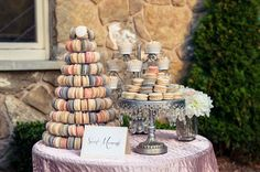 Opulent Treasures Chandelier Cake Stands<3 20-macaron multicolored tiered display wedding