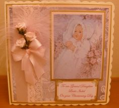 vintage christening card with feather and roses Baby Cards, Kids Cards, Christening Card, Personalised Cards, Handmade Baby, Feathers, Clever, Card Making, Roses