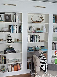 Ikea Hack Billy Library Wall Metal Bookcase, Ikea Billy Bookcase, Modern Bookcase, Bookshelves Ikea, Ikea Shelves, Billy Ikea, Library Wall, Library Shelves, Bookcase Styling