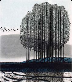 'A Morning Song.' Woodcut artwork by Shi Yi. Art And Illustration, Illustrations, Wood Engraving, Woodblock Print, Tree Art, Chinese Art, Chinese Prints, Japanese Art, Japanese Style