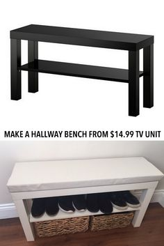 Turn a £7 LACK TV unit into a hallway bench http://www.ikeahackers.net/2017/04/turn-7-lack-tv-unit-hallway-bench.html