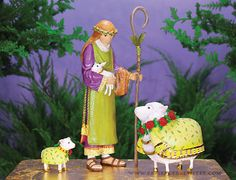 Shepherd, Ewe & Lamb Figures, Set Of 3
