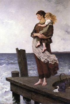 Women ⚓ of salt air⊰⛵  .Waiting - August Wilhelm Nikolaus Hagborg 1877