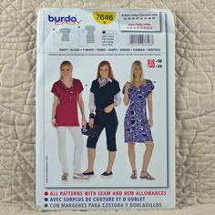 7646 BURDA Uncut PATTERN 2009 Women Fitted Pullover V-Neck Dress T-Shirt Shirt Short Sleeves Size 10 12 14 16 18 20 22 24 3-oz