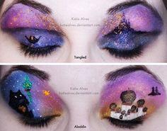 Disney's Tangled and  Aladdin eyeshadow art work