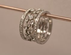 Created by Christopher Duquet Fine Jewelry Design. Materials: 14K white gold, Platinum, Diamonds. #rings #stackingrings #gold #platinum #diamonds