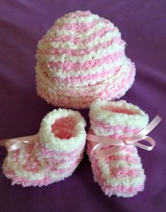 Your place to buy and sell all things handmade 3 Month Old Baby, Newborn Beanie, Baby Knits, Powder Puff, White Ribbon, Baby Skin, Baby Grows, Pink Stripes, Baby Knitting
