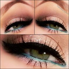 Sparkle shadow with blue liner :: make it brown liner & it'd make brown eyes pop!