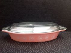 Vintage Pyrex Pink Gaiety Divided Daisy Dish by Onmykitchentable
