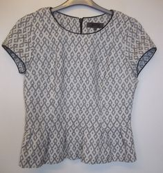 NEXT BLACK & WHITE PEPLUM CAP SLEEVED TOP SIZE 14R- BEAUTIFUL CONDITION! #Next #OtherTops #Casual