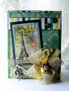Shabby French inspired greeting card All occasion card Paris