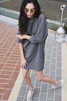 Hamanda Pinheiro: Vestido Cinza Básico - Look