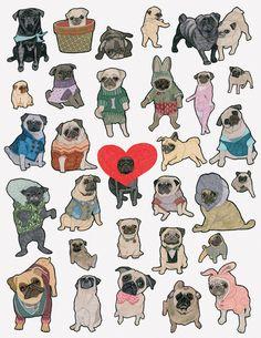 Pug Art Print, animal pattern, pet, dog poster, gift for dog lover