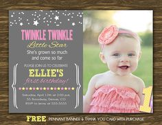 Twinkle Twinkle Little Star Birthday Invitation in by SweetGumdrop, $15.00