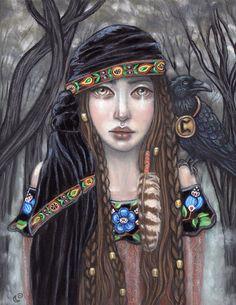 Pertho Rune gypsy shapeshifter crow Fine Art by MoonSpiralart