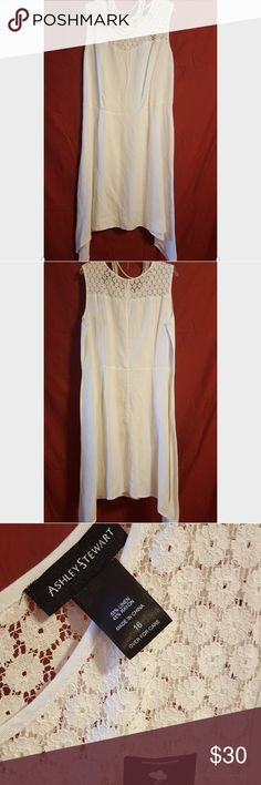 """NWT Ashley Stewart White, Sleeveless Dress NWT.  White. Linen and Rayon. Lace detail across the top and shoulders. Approximately 50"""" long from the shoulder.  Please feel free to make an offer. Ashley Stewart Dresses Asymmetrical"""