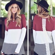 ✨listing for Jenny  1 item order for Jenny:  ▪long sleeve colorblock striped tunic with crochet accent (XL)  Thank you for shopping my closet!  Tops