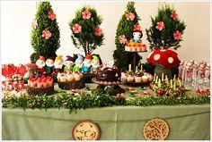 Idéia de mesa para festa Branca de Neve