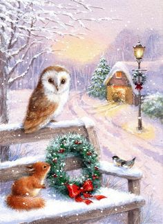 Christmas Scenery, Christmas Pictures, Christmas Art, Winter Pictures, Christmas Stuff, White Christmas, Christmas Ideas, Creative Flower Arrangements, Christmas Paintings On Canvas